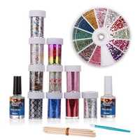 10 Roll Star Transfer Paper Adhesive Glitter Top Coat Nail Art Set